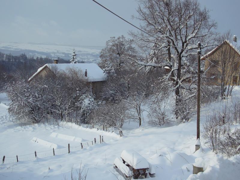 Vue de la maison sous la neige